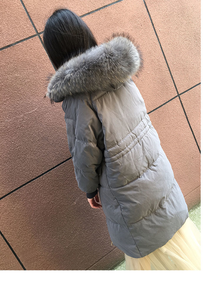 New Fashion Duck Down Jacket Women Long Down Jacket Natural Raccoon Fur Collar Warm Hooded Parkas Abrigos LX2260