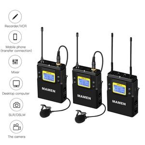 Image 3 - MAMEN UHF çift kanallı dijital kablosuz mikrofon sistemi 2bTransmitters 1 alıcı için kameralı telefon Video ses kayıt