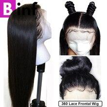BINF фронтальные человеческие волосы парики бразильские прямые волосы не Реми предварительно сорванные с волосами младенца& 360 синтетический фронтальный парик цвета 1B