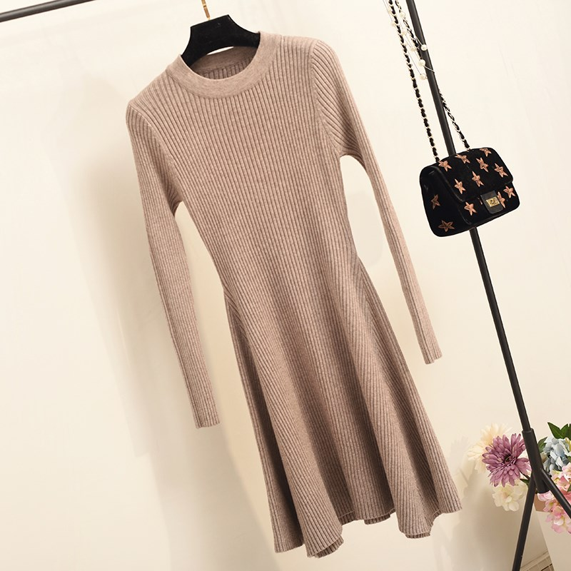 Hf0264310ed8c4e20b0b58a3fe78218ecU - Women Long Sleeve Sweater Dress Women's Irregular Hem Casual Autumn Winter Dress Women O-neck A Line Short Mini Knitted Dresses