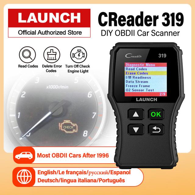 Launch Creader 319 OBD2 Scanner Car Code Reader OBDII OBD 2 Scan Tool Check Engine Fault Code Read PK CR3001 Creader 3001 ELM327