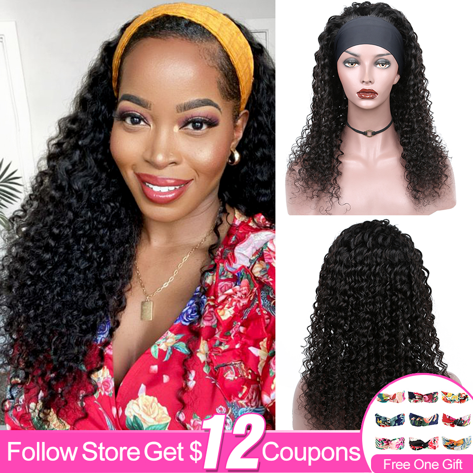 Deep Wave Headband Wig Human Hair Wigs For Black Women Glueless Brazilian Deep Cury Grip Headband Remy Human Hair Half Wig