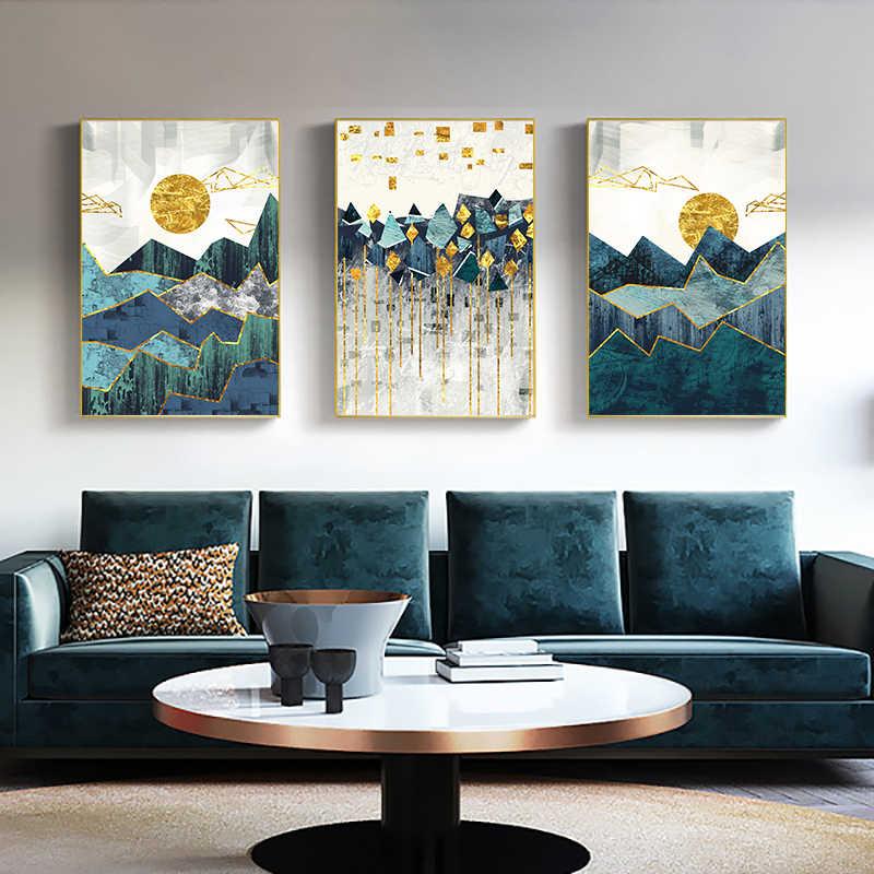 Nordic astratto geometrico paesaggio di montagna Wall Art Canvas Painting Golden Sun Art Poster stampa immagine da parete per soggiorno