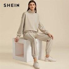 SHEIN Khaki Solid High Neck Sweatshirt And Drawstring Waist Sweatpant Suit Set Autumn Active Wear Drop Shoulder Casual Outfits