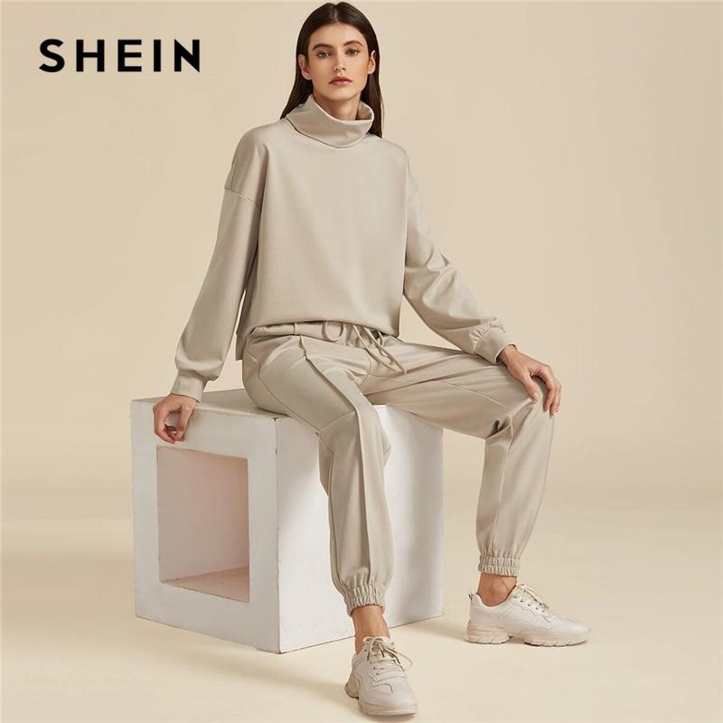 SHEIN Khaki Solide High Neck Sweatshirt Und Kordelzug Taille Sweatpant Anzug Set Herbst Aktive Tragen Tropfen Schulter Casual Outfits