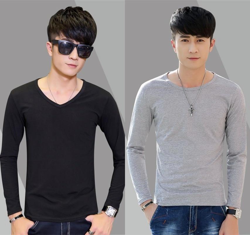 T Shirt 2021 Spring Autumn New Men's Long-sleeved T-shirt Slim Solid Color Men's Long Tshirt O-Neck Casual T Shirts White Black