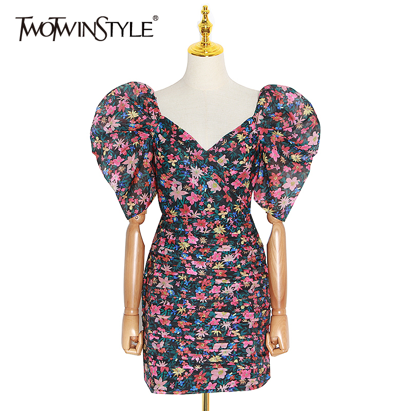 TWOTWINSTYLE Vintage Print Floral V Neck Puff Short Sleeve High Waist Dresses Female Mini Slim Pencil Dresses Suummer New 2020