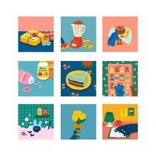 Корейский милый кот Декоративные карты квадратные метопы декоративные