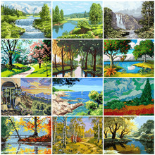 Tree Scenery DIY Painting By Numbers Kit For Adult Unique Gift Coloring By Numbers Draw On Canvas Acrylic Oil Painting Wall Art Picture Modern Home Decor(China)