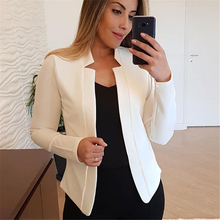 Autumn Fashion Plus Size Solid Color No Button Blazer Women Long Sleeve Slim Off