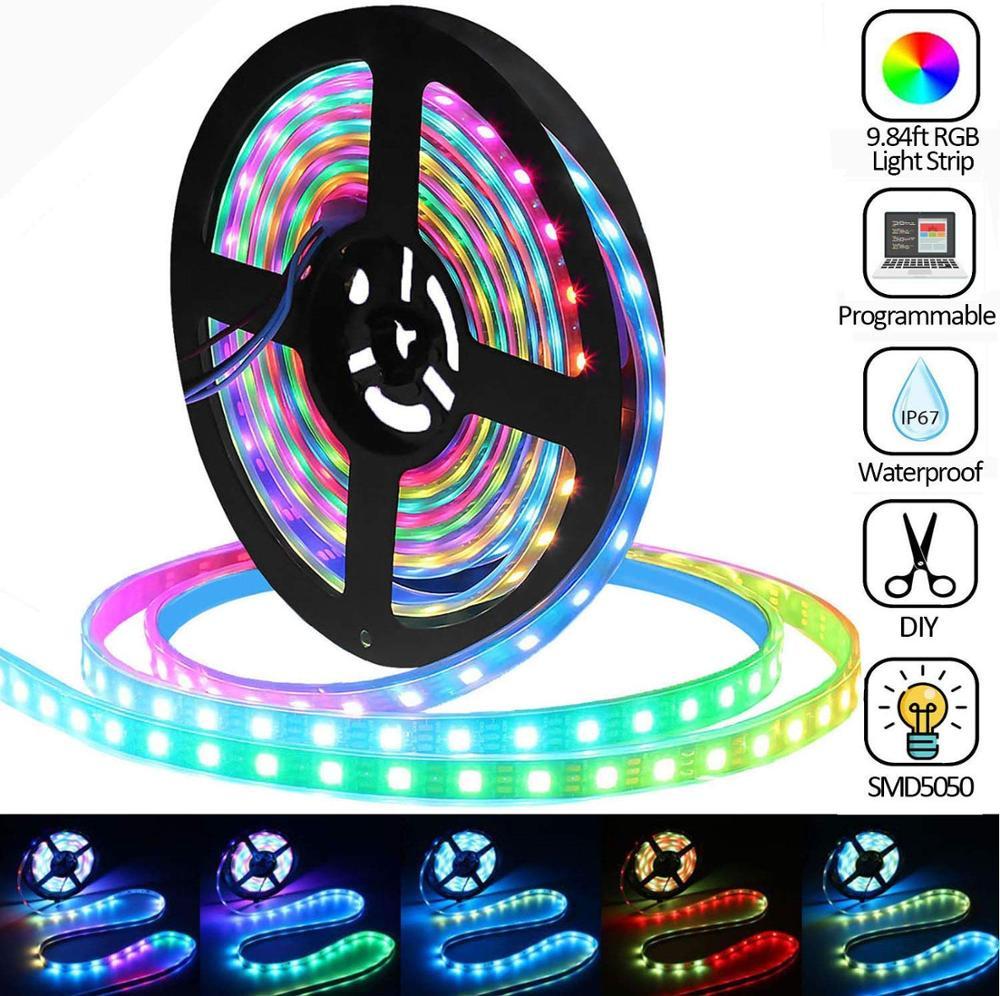 9.84ft 180 LEDs WS2812B Individually Addressable 5050 RGB LED Strip Light,LED Pixel Flexible Lamp Tube,Waterproof IP67