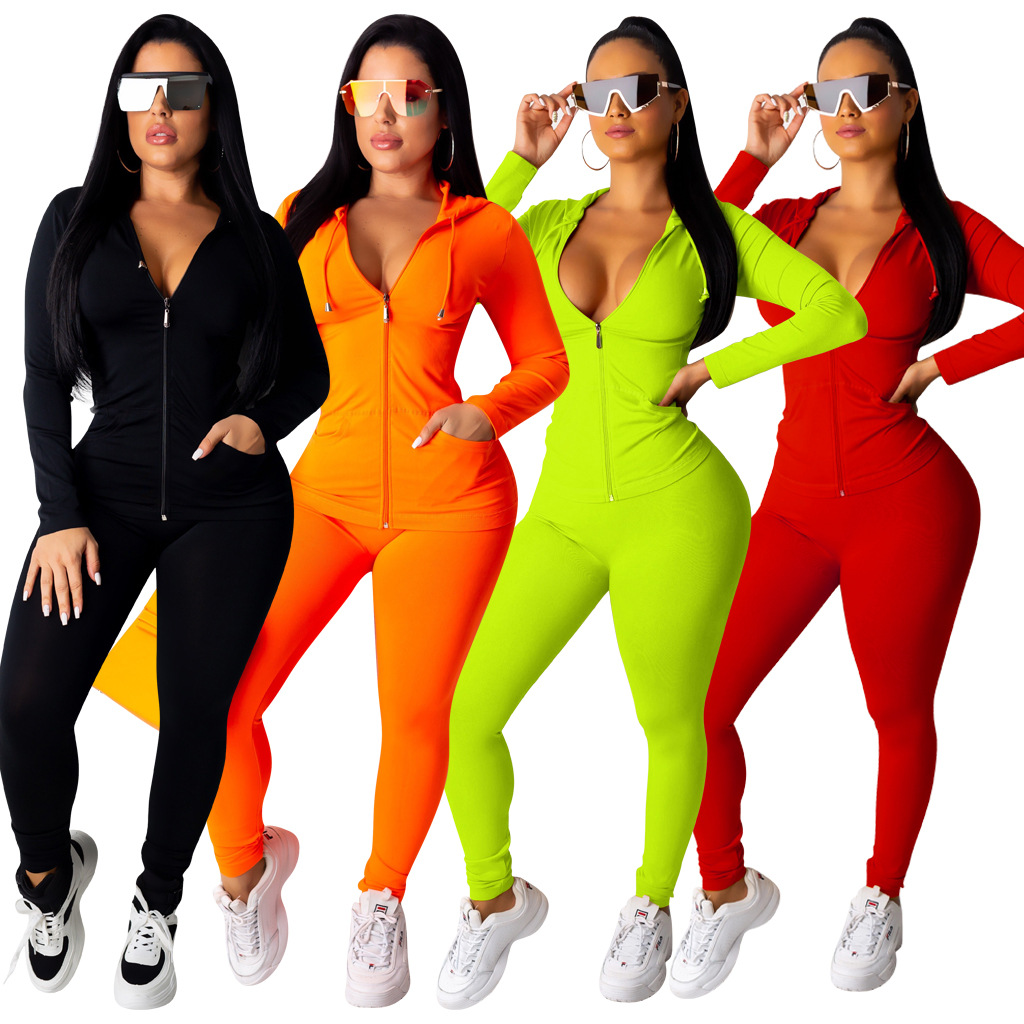 2019 Autumn Women Solid Zipper Up Long Sleeve Hooded Top Pencil Pants Suit Two Piece Set Casual Sporting Tracksuit Outfit