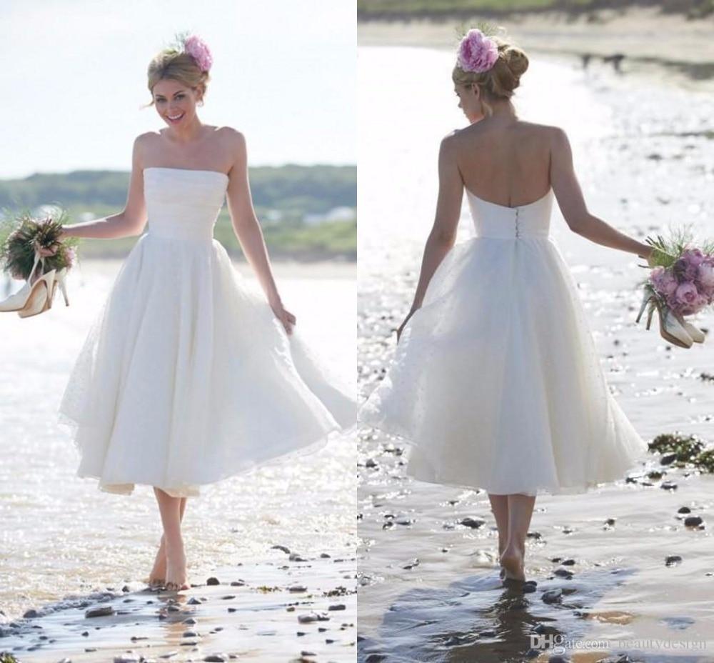 2018 Newest Fashion Summer Beach Short A-line Cheap Strapless Bridal Gown Brides Mid-calf Vestido De Noiva Bridesmaid Dresses