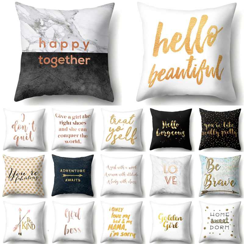Letter Printed Cushion Cover Polyester Pillow Case Decorative Pillow For Home Decoration Sofa Seat Car Decor Pillowcase 40847
