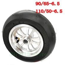 For Pocket Bike Street Slick  Gasoline Scooter Tire Front 90 / 65-6.5 Inch Rear 110 / 50-6.5 Tire Tubeless  Alloy Wheel Hub