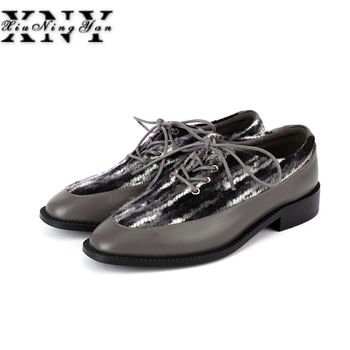 Women's Flats Oxfords Handmade Shoes Woman Lace Up Vintage Mixed Color Soft Real Leather Ladies Casual Sneakers Fashion Footwear
