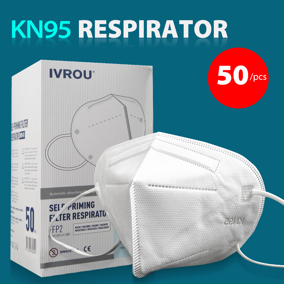 50 Pcs Surgical Mask Face Kn95 N95 Mascherine Flu Dust Antivirus Disposable Laye For Germ Protective Gas Masks KF94 FFP2