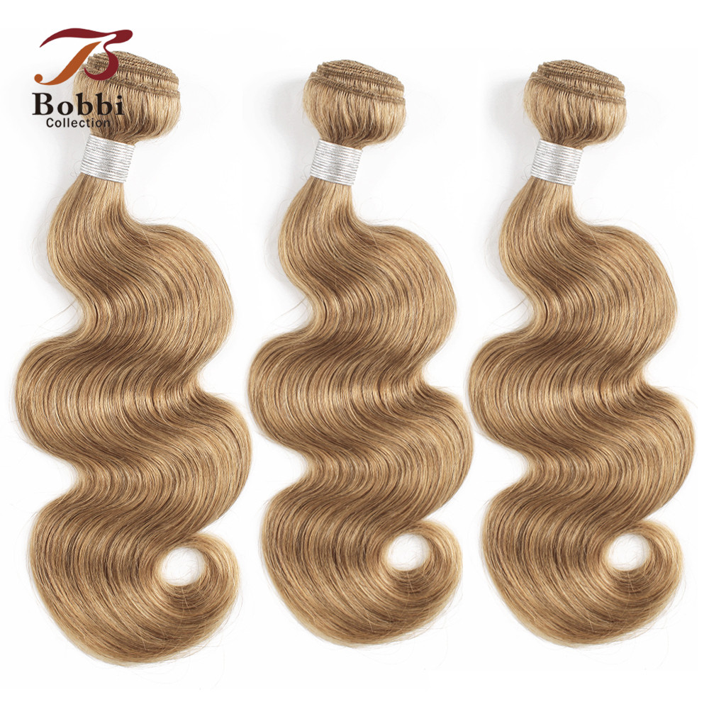 Bobbi Collection 2/3/4 Bundles Color 27 Honey Blonde Indian Body Wave Hair Weave Pre-Colored Non-Remy Human Hair Weft 16-24 Inch