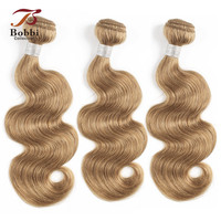 Bobbi Collection 2/3/4 Bundles Color 27 Honey Blonde Indian Body Wave Hair Weave Pre Colored Non Remy Human Hair Weft 16 24 inch