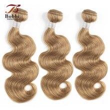 Bobbi Sammlung 2/3/4 Bundles Farbe 27 Honig Blonde Indische Körper Welle Haarwebart Pre Farbige nicht Remy Menschliches Haar Schuss 16 24 zoll