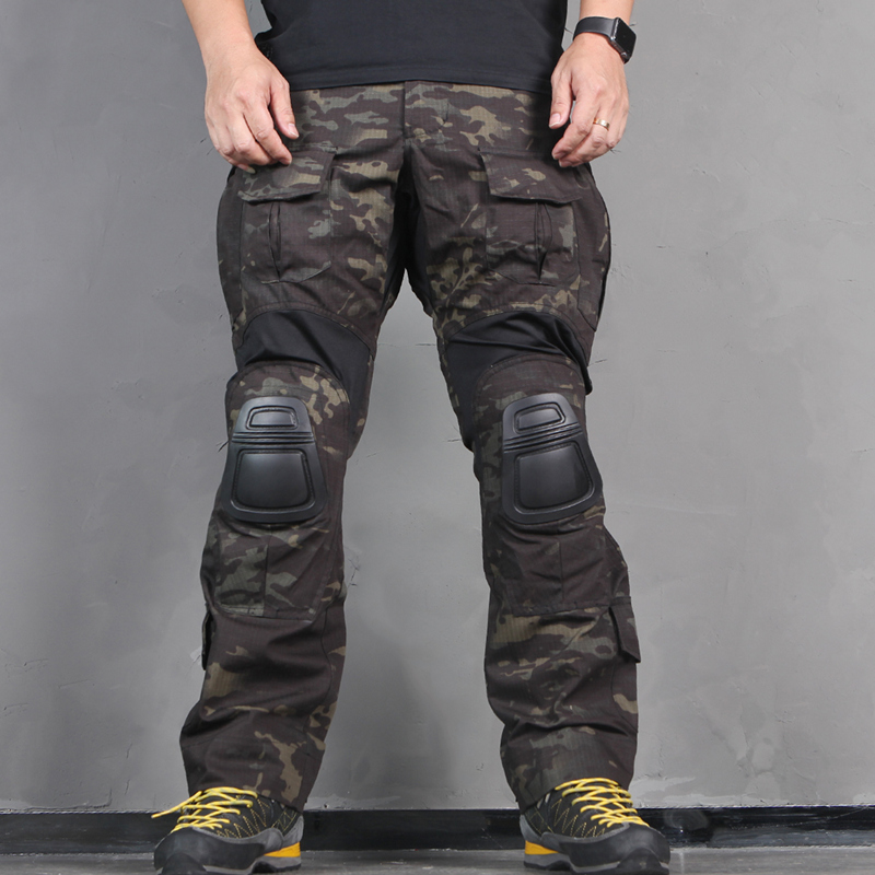 Men Tactical Bdu <font><b>G3</b></font> <font><b>Combat</b></font> <font><b>Pants</b></font> BDU Military Army <font><b>Pants</b></font> with Pads Multicam MCBK Blue Hunting Camouflage image