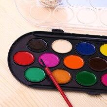 16 Цвета Сплошной Акварель Краски Краска Коробка с Кистью Профессиональный Яркий Цвет Портативный Эскиз акварель палитра