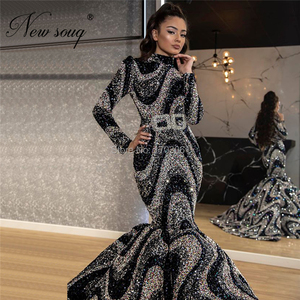 Image 3 - Muslim Glitter Evening Dresses Arabic Party Dress 2020 Dubai Long Formal Women Prom Gowns Middle East Kaftans Robe De Soiree