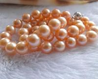 Charming 10 11mm orange pink perfect circle South Sea natural pearl necklace 18 inch S925 silver