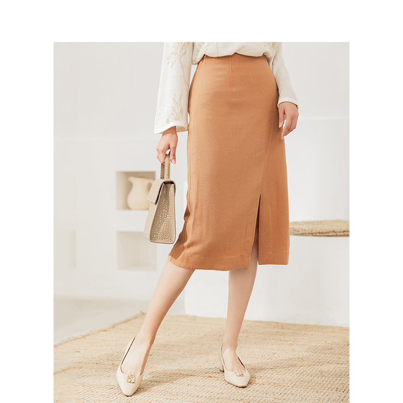 INMAN Winter High Waist Show Fitness Slide Split A Line Medium Long Women Solid Color Fashion Skirt