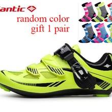 Santic/Обувь для велоспорта; зеленая велосипедная обувь; Нейлоновая подошва; обувь для велоспорта; zapatillas ciclismo; S12019Y; Подарочный носок