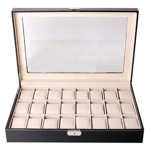 Коробка для часов, органайзер, чехол для часов для мужчин и женщин, искусственная кожа, 24 отделения для хранения дисплея, держатель для часов...