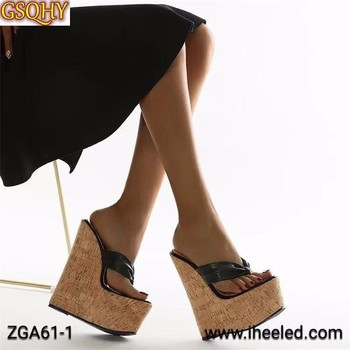 2021 New Sexy Super 18CM High Heels Platform Wedges Pinch slippers Women Sandals Mules Slippers Shoes Size 35-43 image