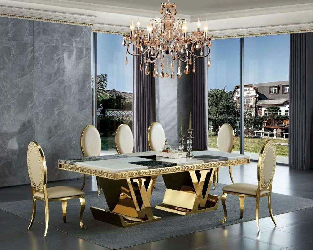 Contemporary Luxury Marble Top Gold Stainless Steel Dining Table for 9 to  9 Person