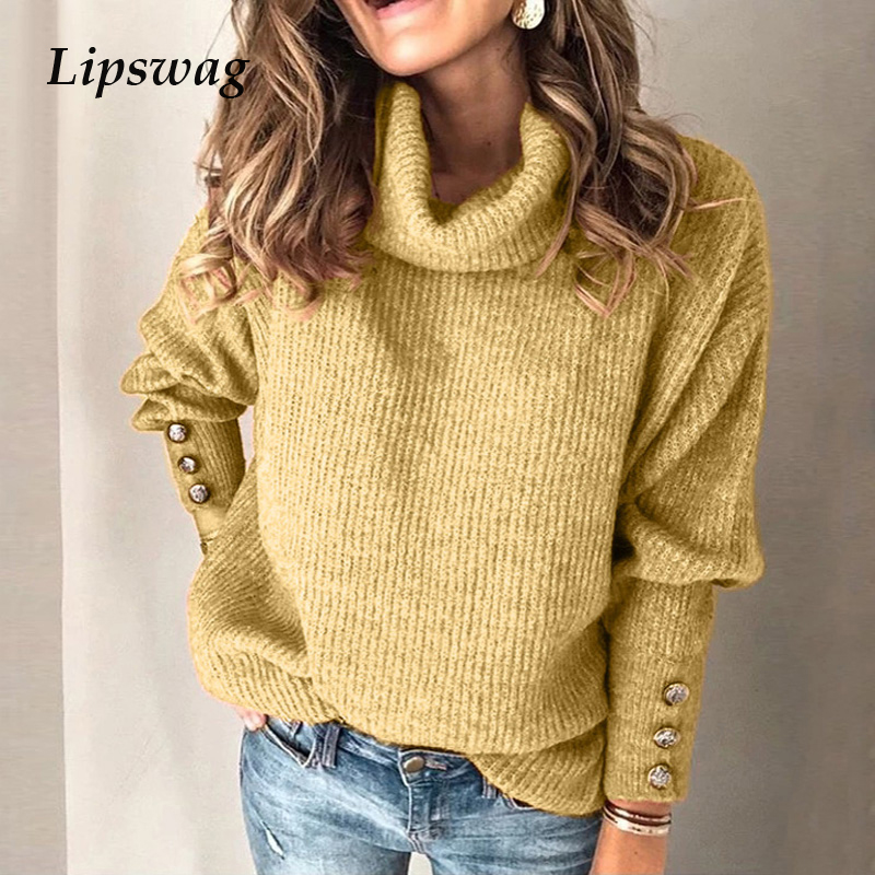 Turtleneck Knitted Sweaters Women Winter Autumn Long Sleeve Rivet Pullover Sweater Casual Loose Pullover Sweaters Tops S-5XL
