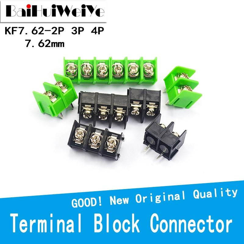 10PCS/LOT 7.62mm KF7.62 2P 3P 4P MG762 2 3 4 Pin Can be spliced Screw Terminal Block Connector Black Green 7.62mm Pitch
