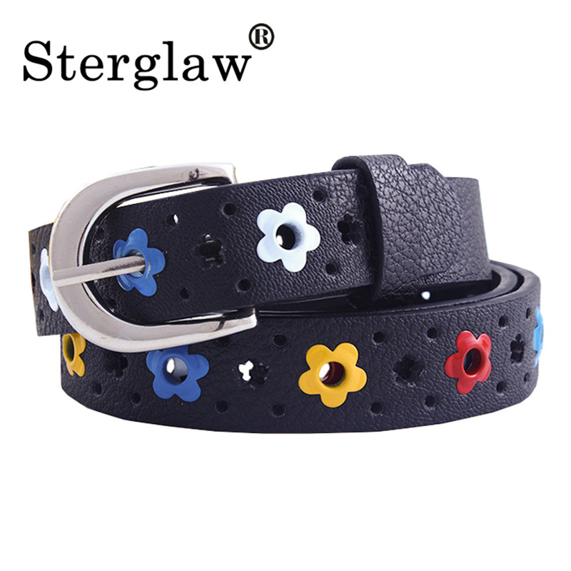 100X2.2CM Designer Kids PU Leather Belts Women 2020 Hot Fashion Flower Buckle Belt Kids/Children Waist Belt For Boys/Girls H217