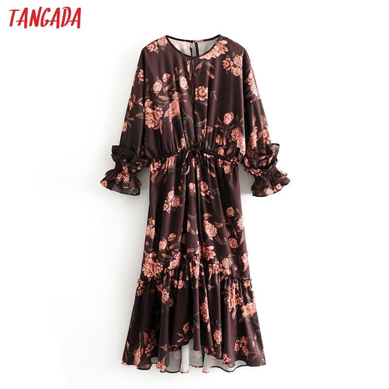 Tangada Women Boho Style Flowers Print Dress Ruffles Long Sleeve Ladies Adjust Waist Long Dress Vestidos 3H363