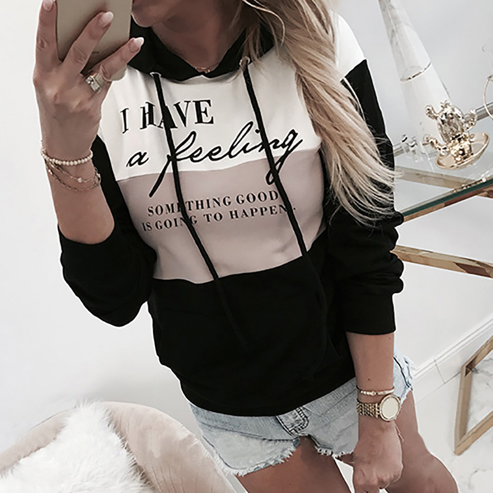 Autumn Women Hoodies Top Pullover Sweatshirt Long Sleeve Letter Printed Lady Hooded Shirt Patchwork Female Hoodie Sweatshirt
