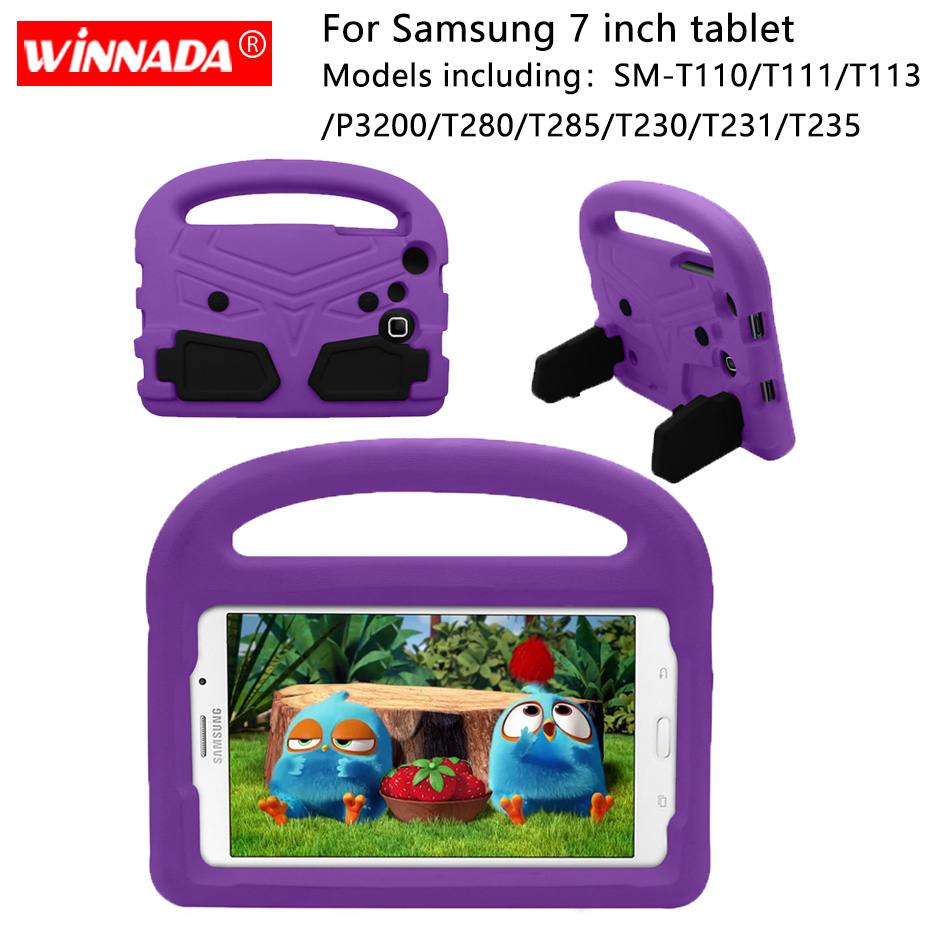 Case For Samsung SM T280 T285 Kids Tablet Cover EVA Stand Coque For Tab 3 Lite T110 T111 T113 Tab 4 7.0 T235 T230 T231 P3200