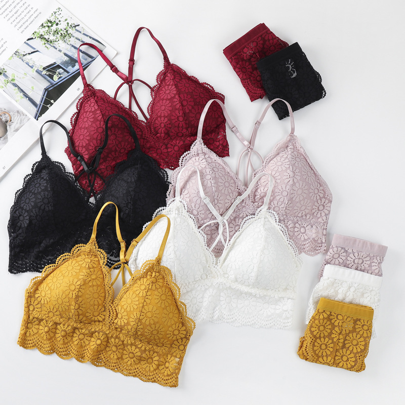 Sexy Lace Bras Set Women Lingerie Backless Bralette Vest Seamless Underwear Ultra-Thin Panties Thongs Female Bh Intimates #F