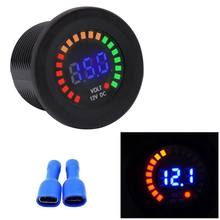 Waterproof DC12V RD Digital Voltmeter Three Wires Vehicles Motorcycles Boat Cars Voltage Panel Meter LED Display Color