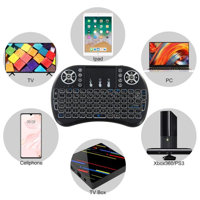 7 color backlit i8 Mini Wireless Keyboard 2.4ghz English Russian Spain Air Mouse with Touchpad 4
