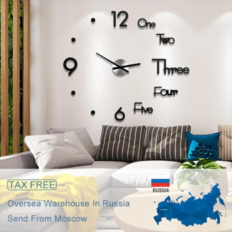 3D DIY Large Wall Clock Modern Acrylic Wall Sticker Clock Home Room Decor