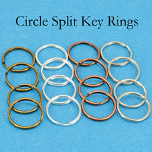 100 pces-25mm porta-chaves, anel de chaveiro redondo, chaveiro suprimentos por atacado chaveiro-prata chapeado, bronze, cobre, aço