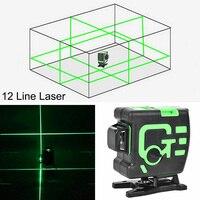 Linhas 12 3D Nível de Auto-Nivelamento A Laser 360 Degre Cruzar As Linhas Horizontais E Verticais de Linha Verde do Laser Com Bateria De Lítio bateria Ferramenta