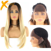 Blonde Brown Ombre Color Synthetic Lace Wigs With Baby Hair X-TRESS Long Straight 13x4 Lace Front Wig For Women Middle/Free Part