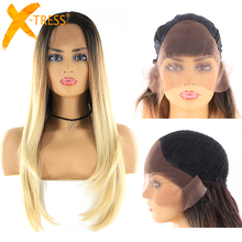 Blonde Brown Ombre Color Synthetic Lace Wigs With Baby Hair X-TRESS Long Straigh