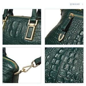 Image 4 - Qiwang Authentic Women Crocodile Bag 100% Genuine Leather Women Handbag Hot Selling Tote Women Bag Large Brand Bags Luxury