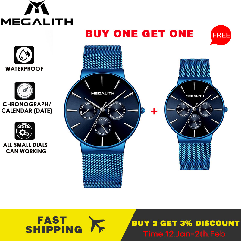 MEGALITH Buy 1 Get 1 Free Watch Men Sports Chronograph Men Watch Top Brand Luxury Waterproof Quartz Clock Small Dial Can Working