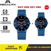 Megalith comprar 1 obter 1 livre relógio masculino esportes cronógrafo masculino relógio de pulso marca superior luxo à prova dwaterproof água relógio de quartzo pequeno dial pode trabalhar|Relógios de quartzo| |  -